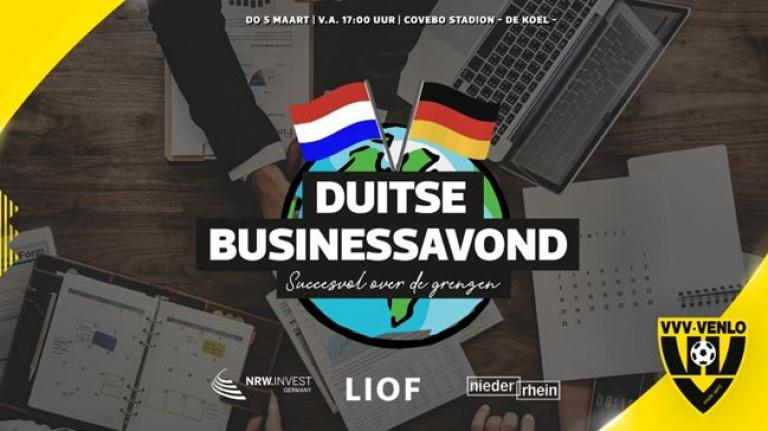 Op donderdag 5 maart organiseren VVV-Venlo, NRW.INVEST en LIOF een businessavond met als thema 'succesvol over de grenzen'